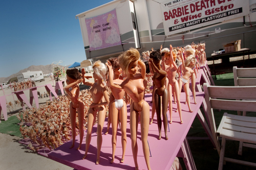 All the Barbies were lined up perfectly yesterday, as good Barbies should be, out at the Barbie Death Camp and Wine Bar. They were topless, but then again, they weren't the only ones who were.